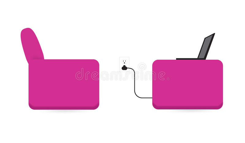 Download Laptop On A Pink Chair With Power Outlet Stock Vector - Illustration of pink, magenta: 10927041
