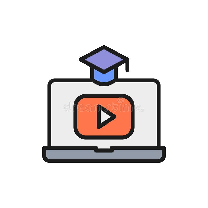 Laptop with play button, educational video, online learning flat color line icon. Vector laptop with play button, educational video, online learning flat color stock illustration