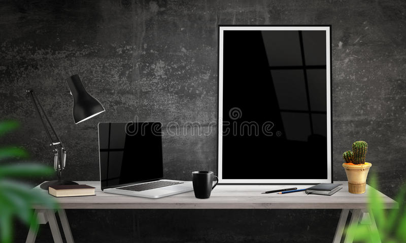 Download Laptop And Poster Frame On Office Desk. Coffee, Cactus, Notebook,  Lamp