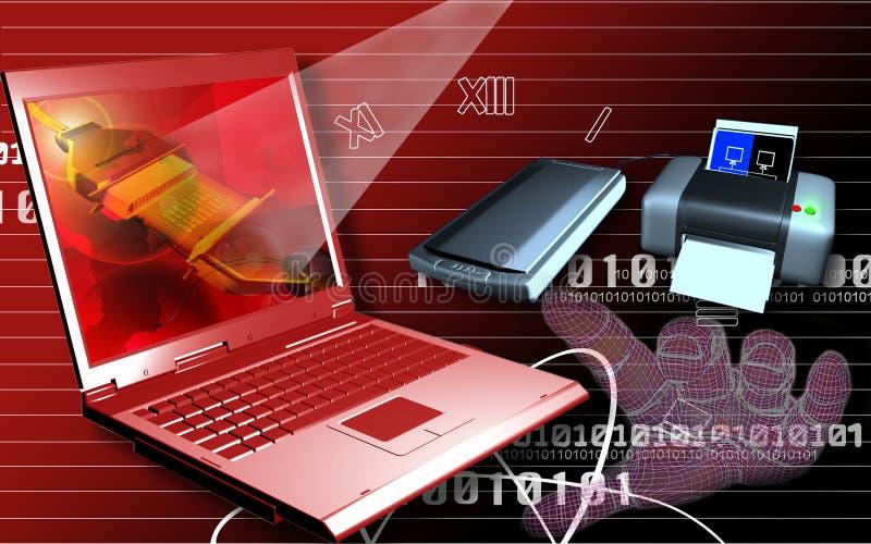 Download Laptop printer and scanner stock illustration. Image of keys - 5863034