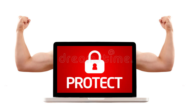 Download Laptop With Protect Sign And Muscular Biceps Stock Image - Image: 16327091