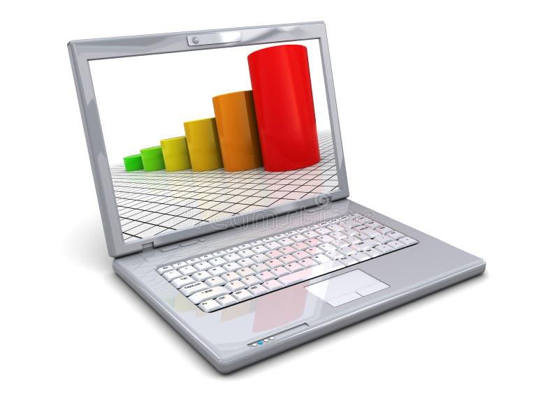 Laptop and raising charts royalty free illustration