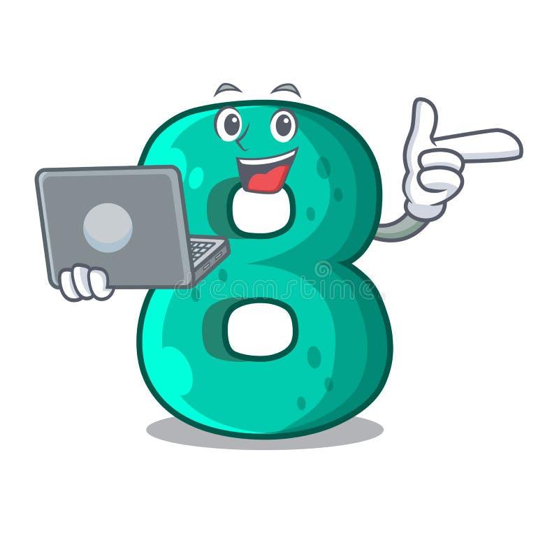With laptop raster version cartoon shaped Number Eight. Vector illustration vector illustration