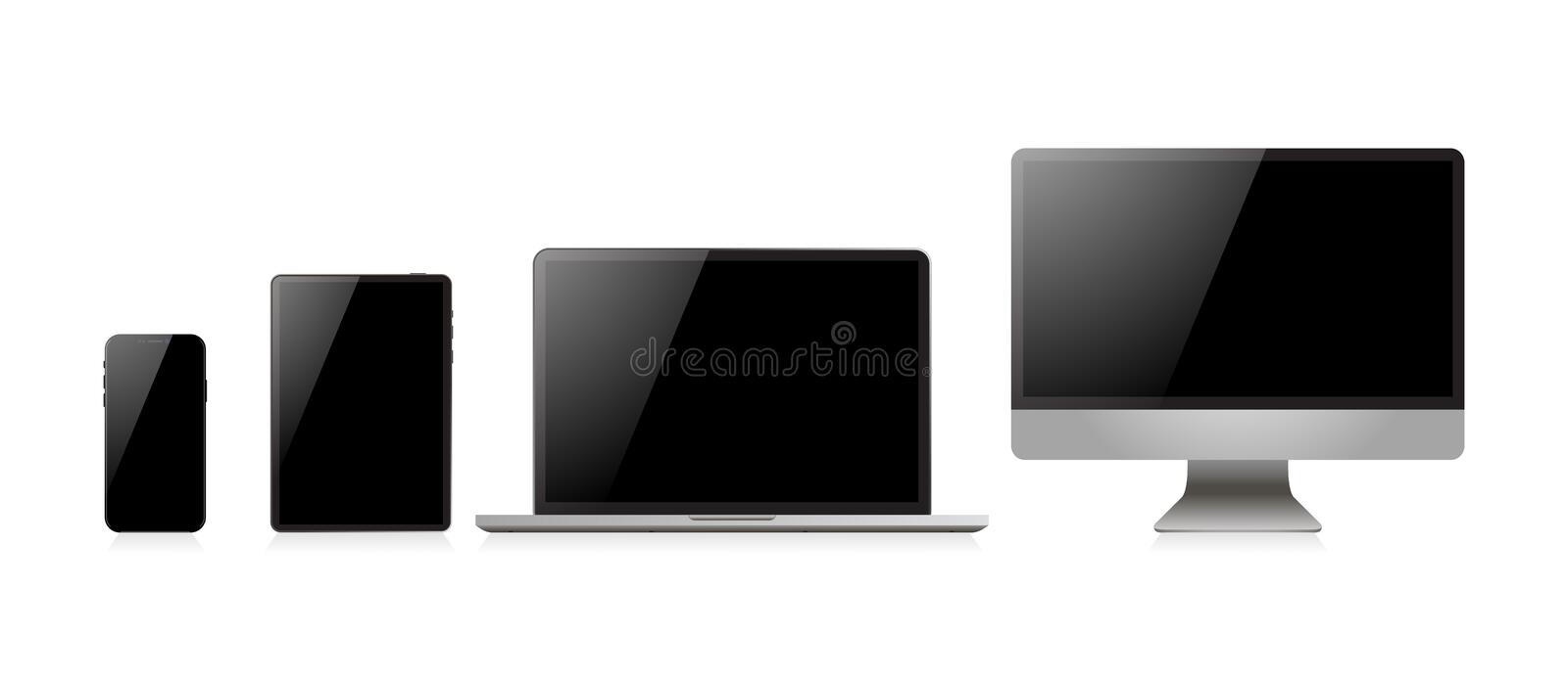Laptop realistic. Device in mockup style. Set realistic vector devices on a white background. Vector. Illustration stock illustration