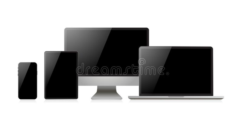 Laptop realistic. Device in mockup style. Set realistic vector devices on a white background. Vector. Illustration royalty free illustration