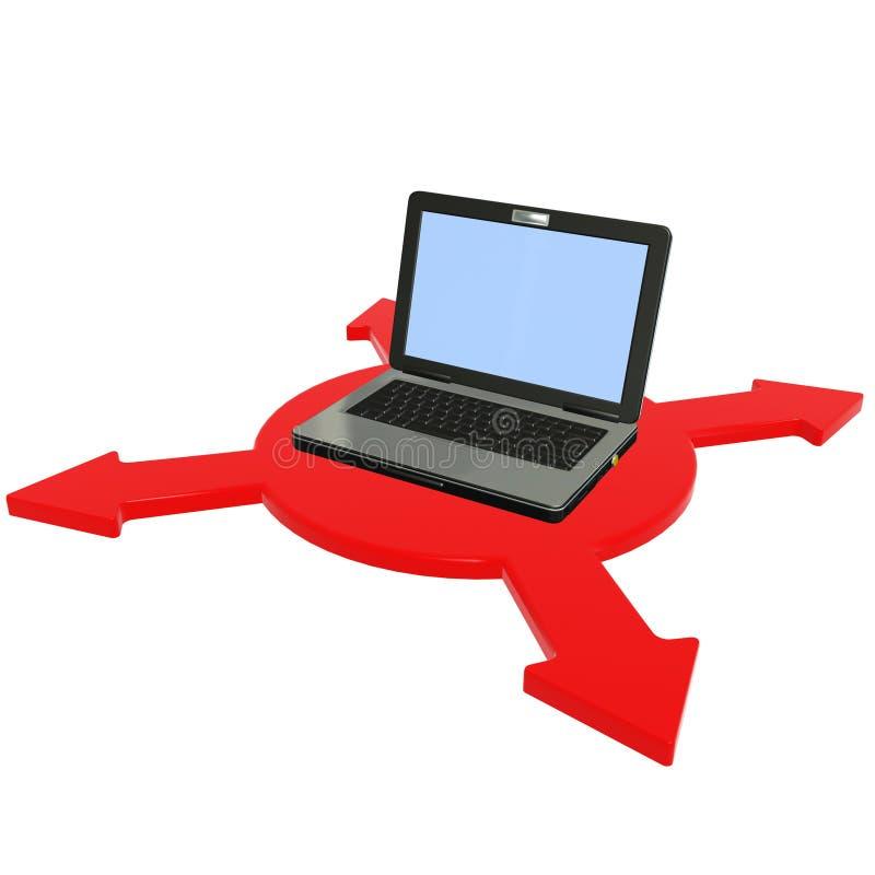 Laptop on red arrow stock photos