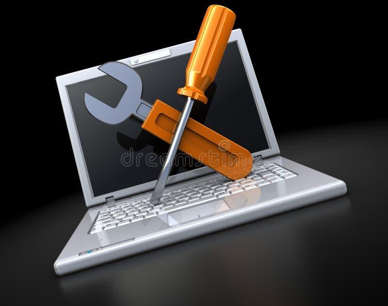 Laptop repair vector illustration