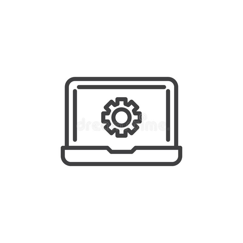Laptop repair line icon. Linear style sign for mobile concept and web design. Computer settings gear outline vector icon. Symbol, logo illustration. Pixel stock illustration