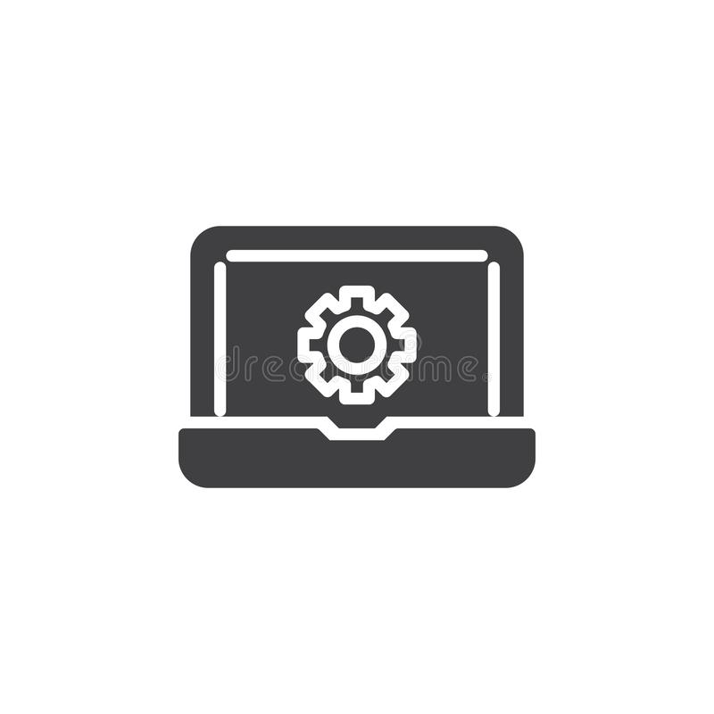 Laptop repair vector icon. Filled flat sign for mobile concept and web design. Computer settings gear simple solid icon. Symbol, logo illustration. Pixel stock illustration