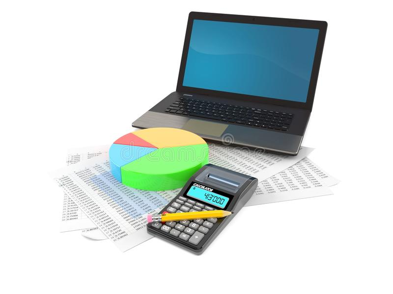 Laptop with report and pie chart royalty free illustration