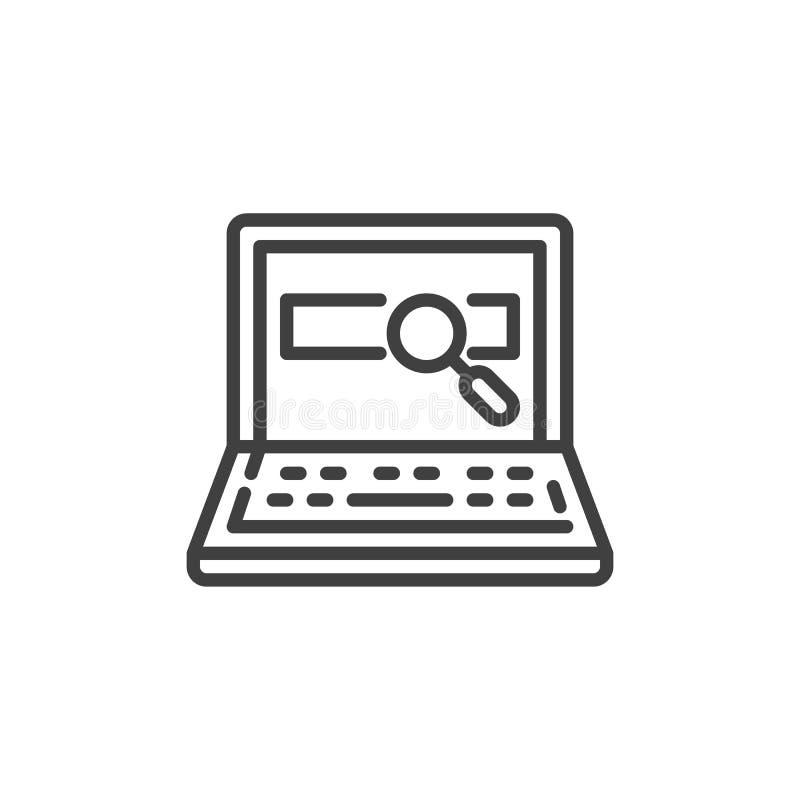 Laptop rewizji linii ikona royalty ilustracja