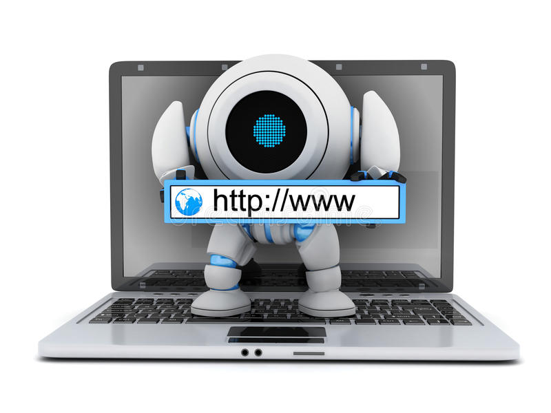 Laptop and robot www address vector illustration
