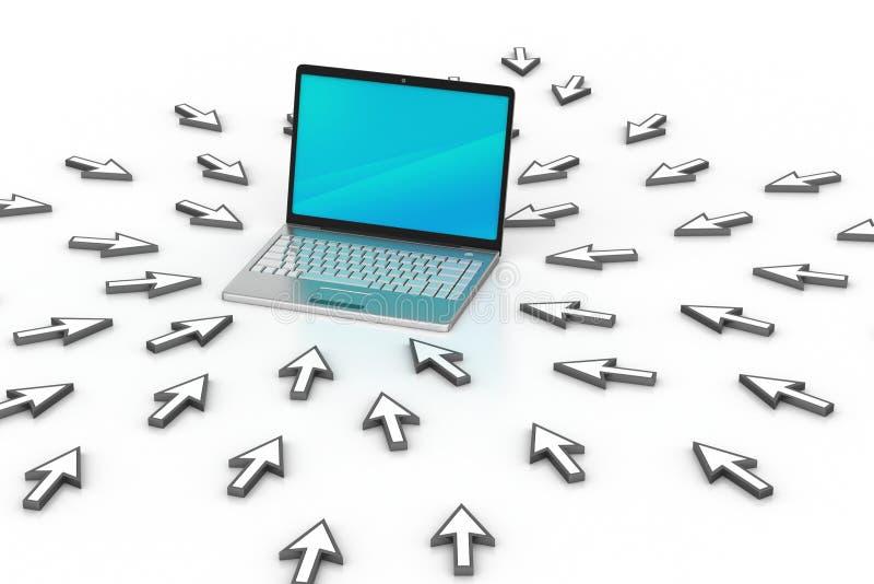 Laptop rond de muispunten stock illustratie
