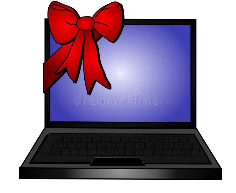 Laptop-rote Bogen-Geschenk-Förderungen vektor abbildung