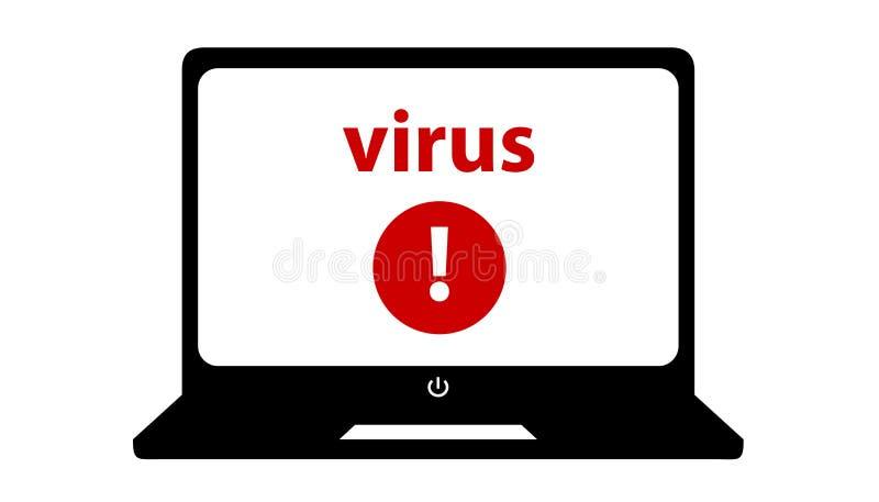 Laptop-Schirm-und Virus-Informationen - Vektor-Illustration - lokalisiert auf weißem Hintergrund stock abbildung