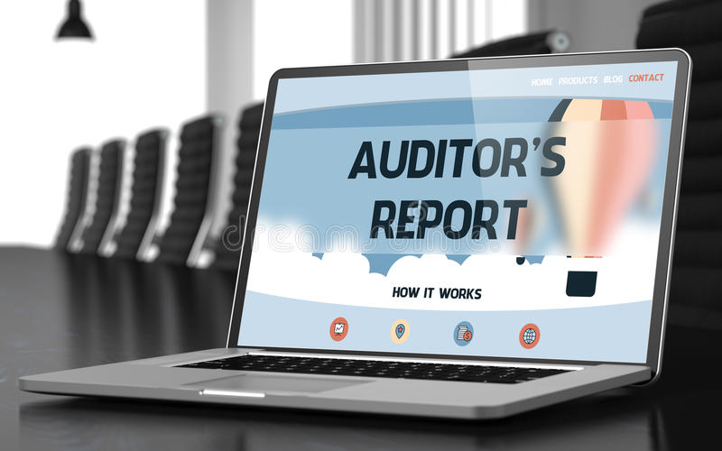 Laptop Screen with Auditor's Report Concept. 3D. Modern Conference Hall with Laptop Showing Landing Page with Text Auditor's Report. Closeup View. Toned Image royalty free stock photography
