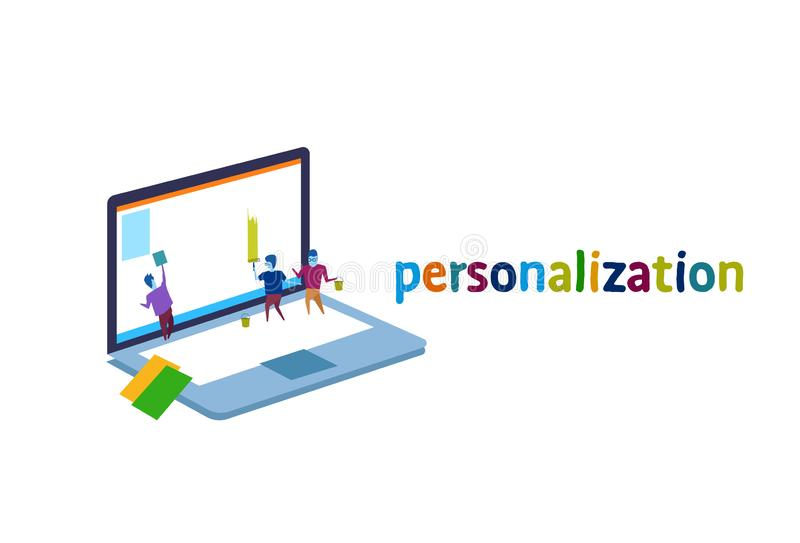 Laptop screen business people personalization interface concept team painting monitor creative new idea stock illustration