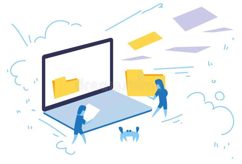Laptop screen businessman hold folder internet data privacy information concept online database horizontal sketch doodle. Vector illustration vector illustration