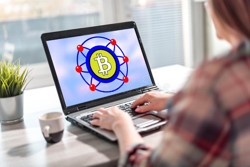Bitcoin concept on a laptop screen royalty free stock images