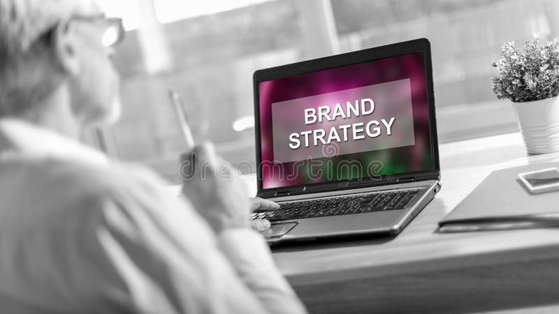 Brand strategy concept on a laptop screen. Laptop screen displaying a brand strategy concept royalty free stock photo