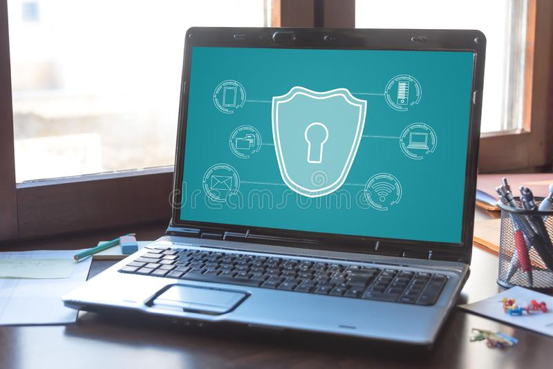 Cyber security concept on a laptop screen. Laptop screen displaying a cyber security concept stock photos
