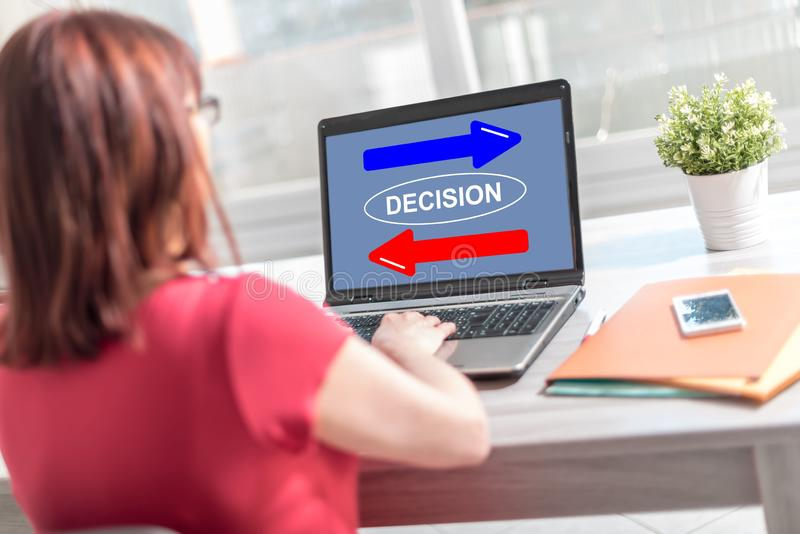 Decision concept on a laptop screen royalty free stock image