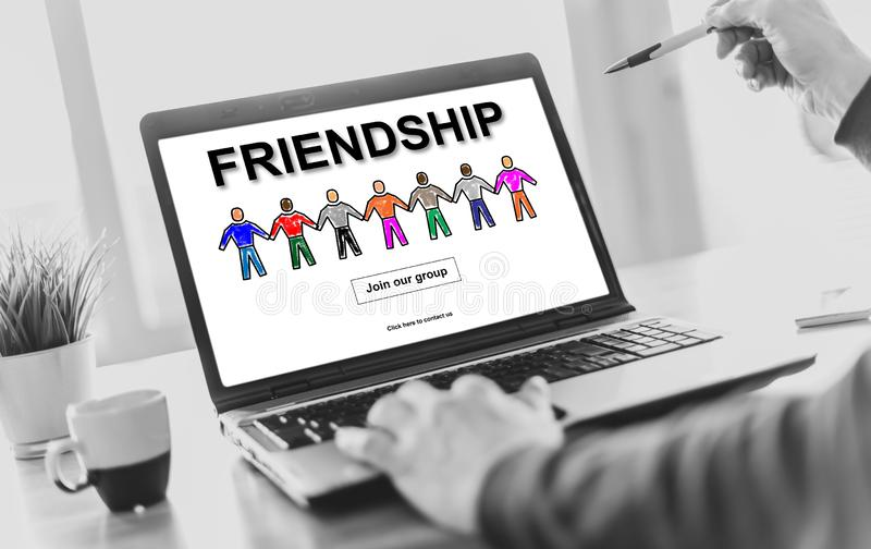 Friendship concept on a laptop screen stock photo