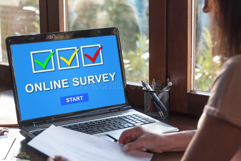 Online survey concept on a laptop screen stock photos
