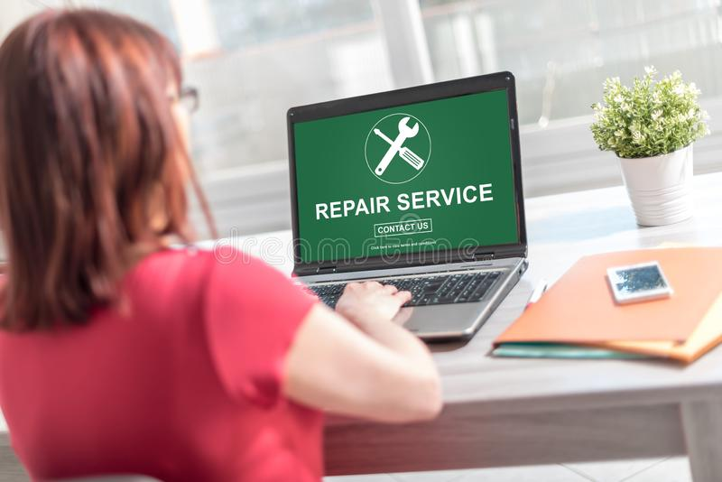 Repair service concept on a laptop screen. Laptop screen displaying a repair service concept stock illustration
