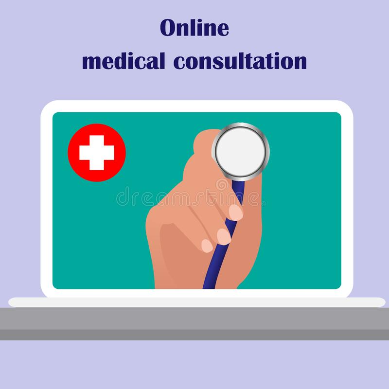 On the laptop screen the doctor s hand holding stethoscope, aimed at the viewer. Online medical consulting concept. Tele, online, royalty free illustration