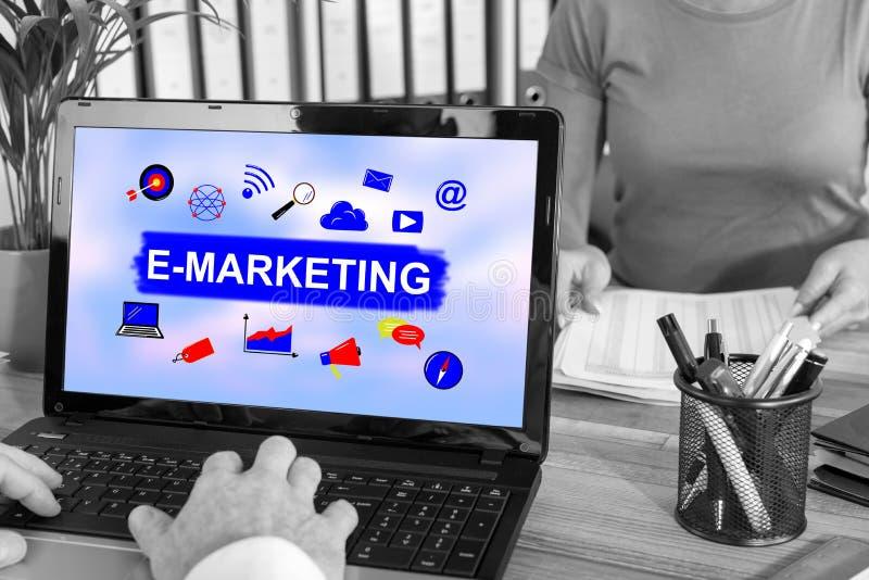 E-marketing concept on a laptop. Laptop screen with e-marketing concept stock photos