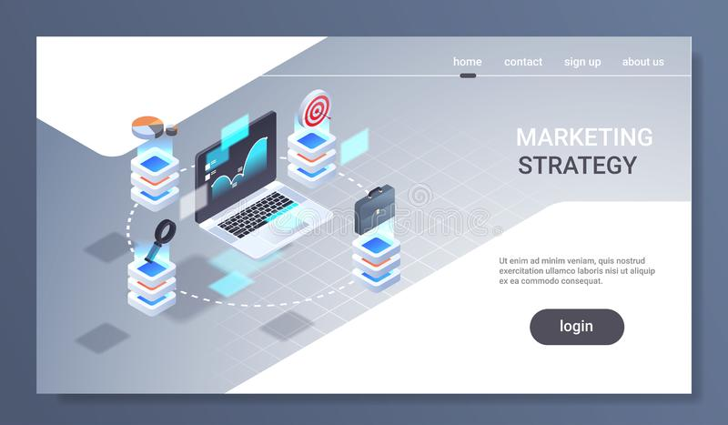 Laptop screen financial chart statistic data finance analytics report marketing strategy concept 3d isometric trading royalty free illustration