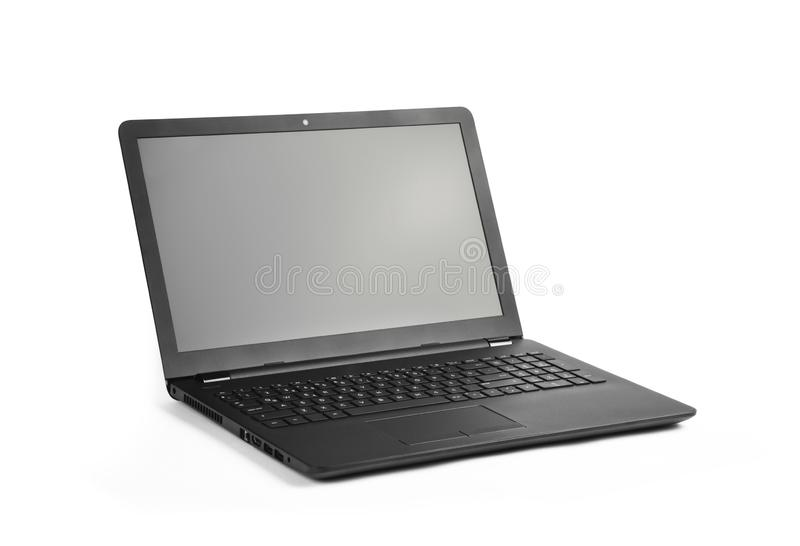 Laptop and screen have on white stock images