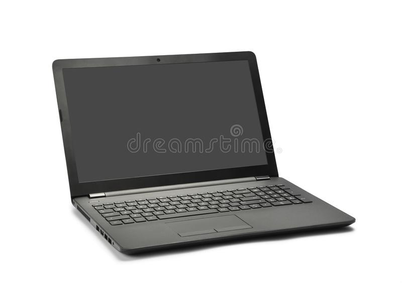 Laptop and screen have on white stock photography