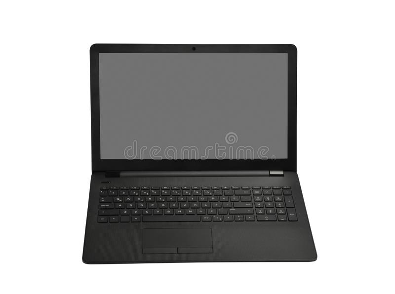 Laptop and screen have on white stock photos