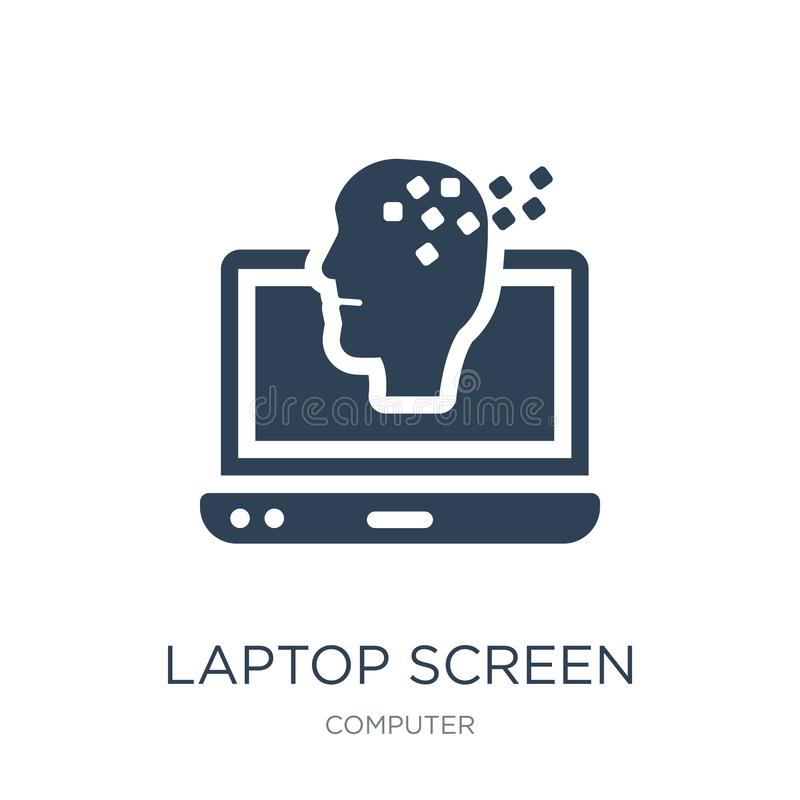 laptop screen with human head graphic icon in trendy design style. laptop screen with human head graphic icon isolated on white stock illustration