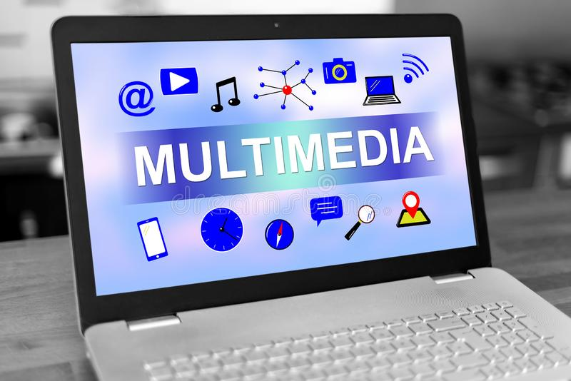 Multimedia concept on a laptop royalty free stock images