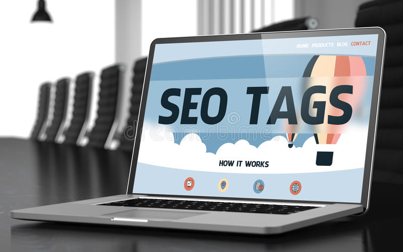 Laptop Screen with SEO Tags Concept. 3D. stock photo