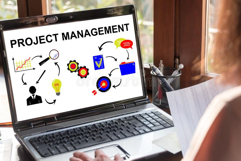 Project management concept on a laptop screen royalty free stock photo