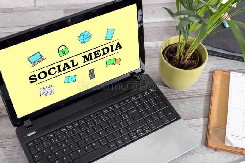 Social media concept on a laptop. Laptop screen with social media concept stock images