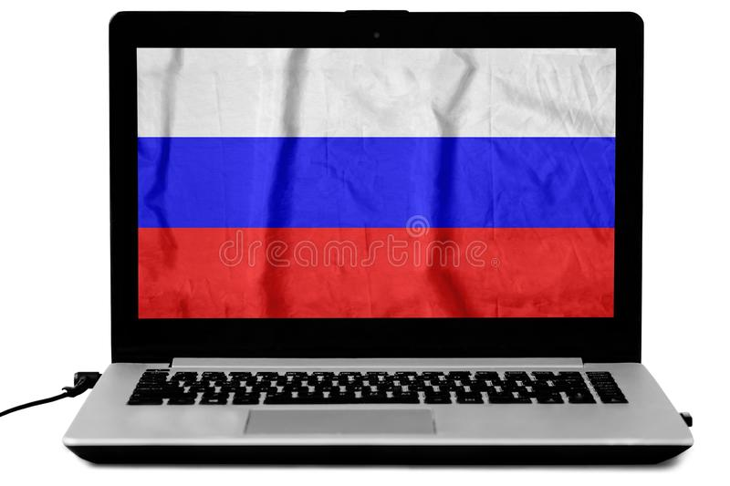 Laptop screen with a waving Russian flag isolated on white stock images