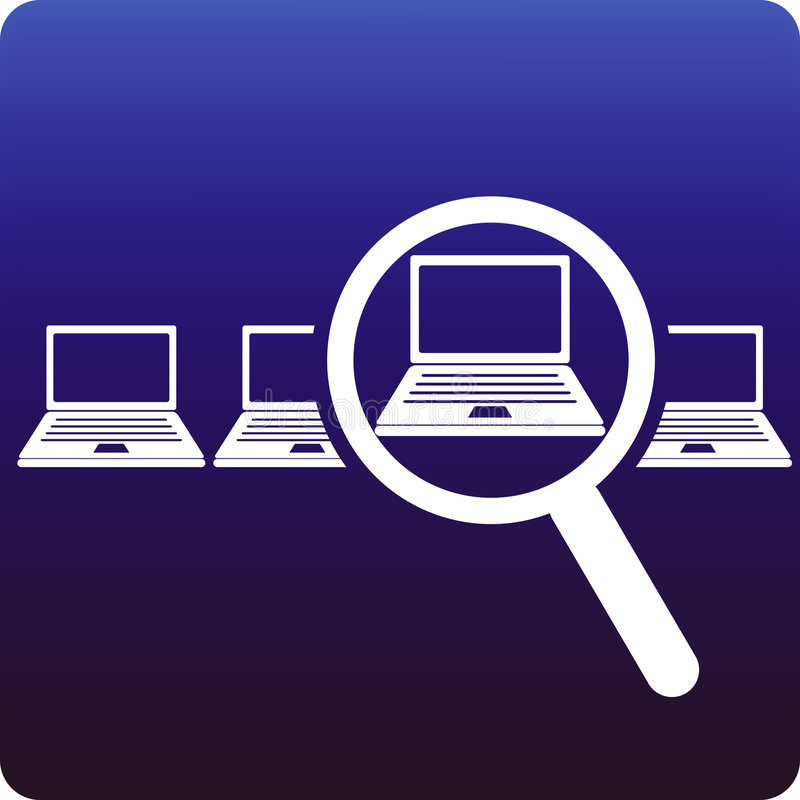 Laptop search vector illustration
