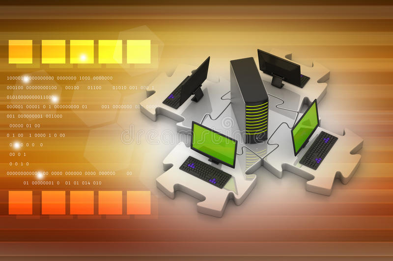 Laptop and server connect in puzzles. In color background stock illustration