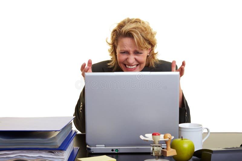 laptop sfrustowana kobieta obrazy stock