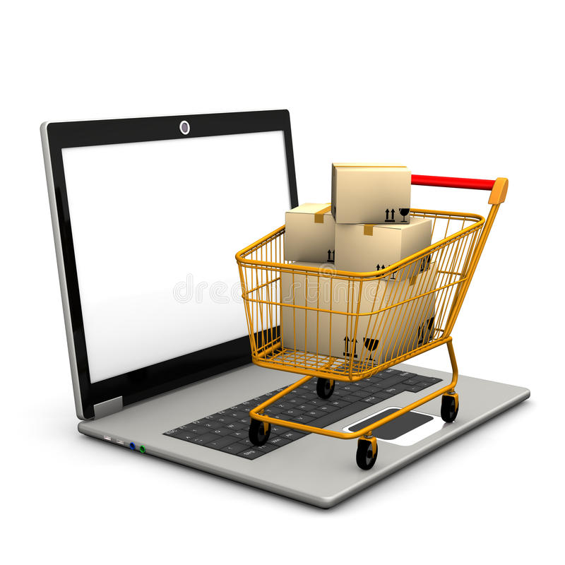 Laptop Shopping Cart. Laptop with shopping cart and shipping cartons stock illustration