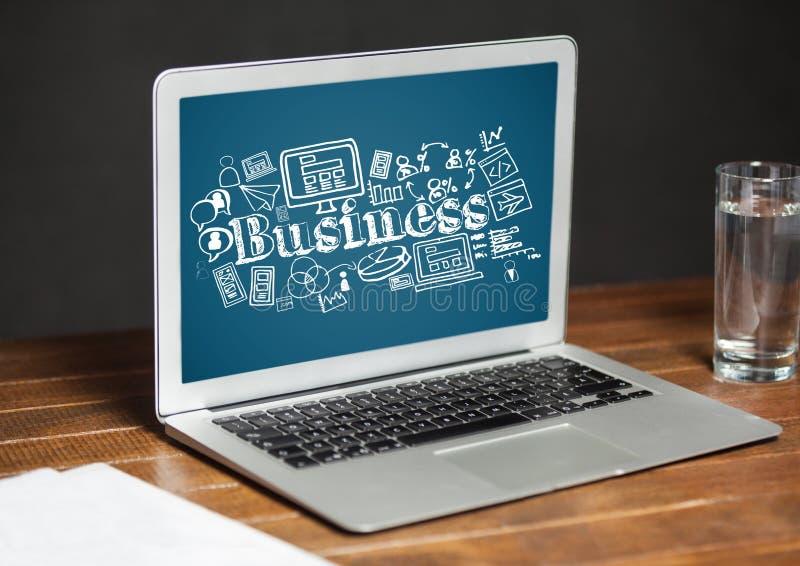 Laptop showing white business doodles against blue background. Digital composite of Laptop showing white business doodles against blue background stock images