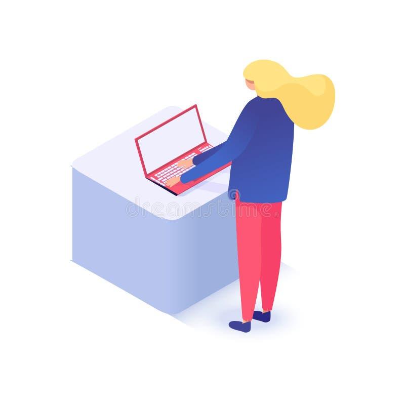 laptop się kobiety ilustracji
