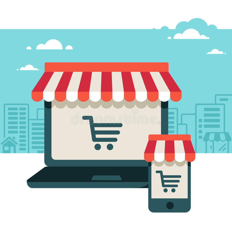 Laptop and smart phone with awning royalty free illustration