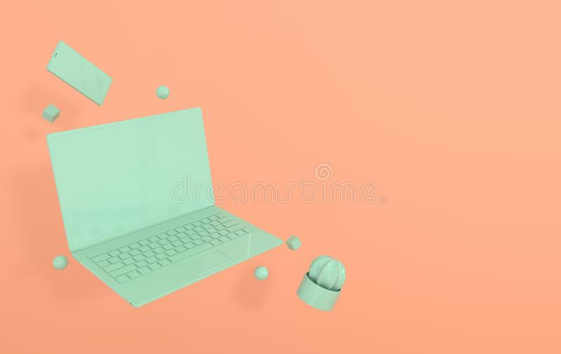 Laptop, smart phone and different geometric objects mockup background in modern minimal style. Notebook, cactus 3d render in royalty free illustration