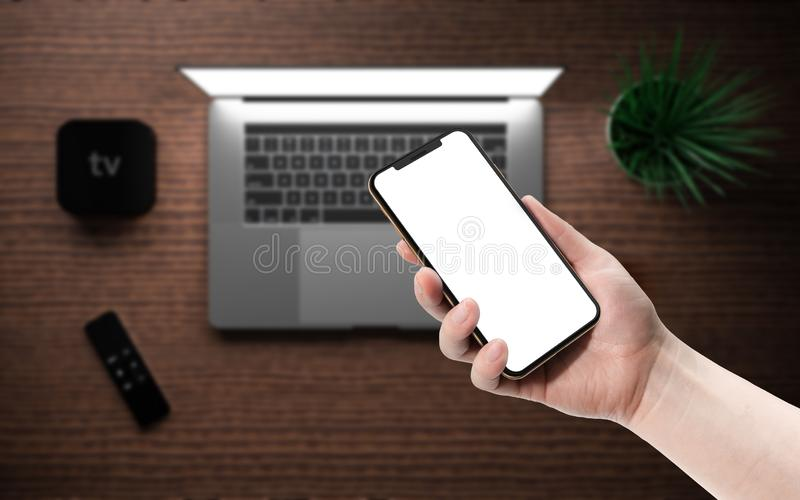 Laptop smartphone digital media player device remote touch controller. Laptop and smartphone with blank screen, digital media player device with remote touch stock images